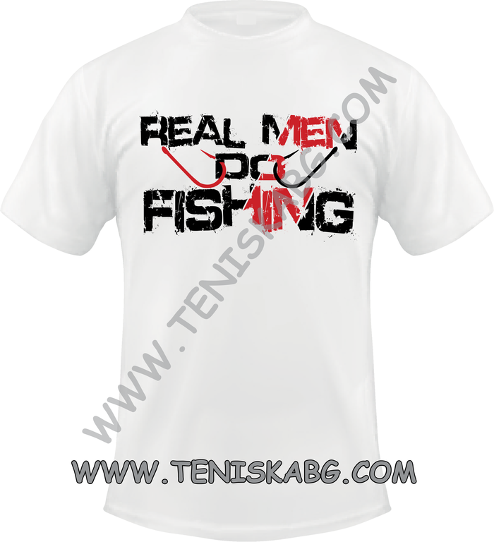 Тениска - Real man fishing